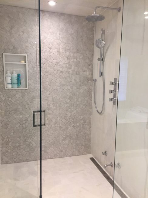Custom tile standing shower