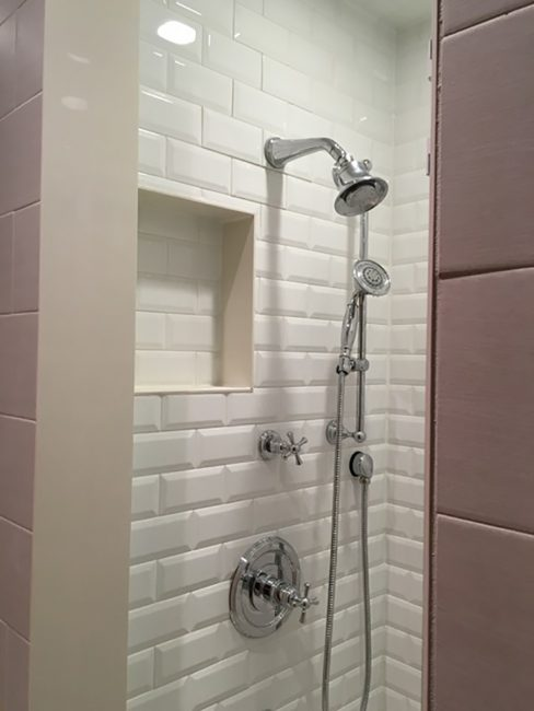 White custom shower